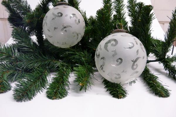 weihnachtskugel christbaumkugel aus glas milchig halb transparent mit klaren fi ebay. Black Bedroom Furniture Sets. Home Design Ideas